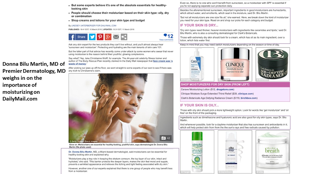 Donna Bilu Martin, MD weighs in on the importance of moisturizing on DailyMail.co.uk