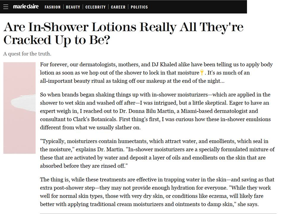 Donna Bilu Martin, MD talks to Marie Claire about in-shower moisturizers.