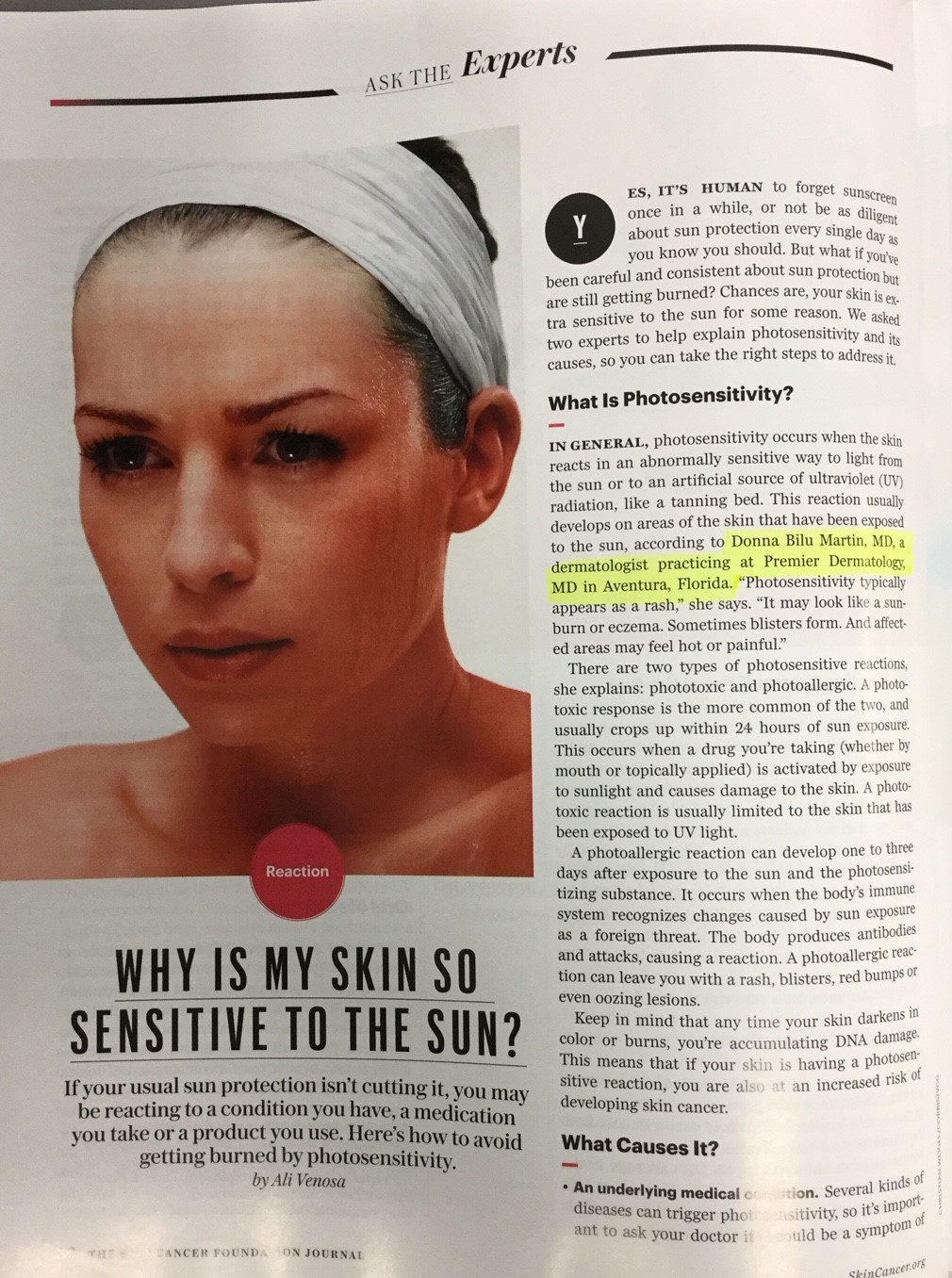 Donna Bilu Martin, MD discusses photo reactions in The Skin Cancer Foundation's 40th Birthday Special Issue