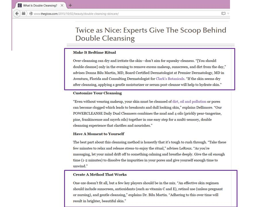 Donna Bilu Martin, MD talks to thegloss.com about double cleansing